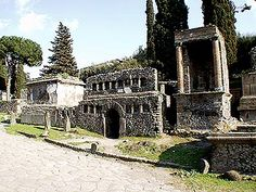Tombs lining a street on the outskirts of Pompeii. The dead were not far away.