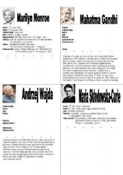 WRITING A SHORT BIOGRAPHY OF FAMOUS PEOPLE - part 1 - ESL worksheet by kamila0703 Vocabulary Games, Grammar And Vocabulary, Teacher Notes, Best Teacher, Biography To Read, English For Students, Esl Lesson Plans, Esl Lessons, Vocabulary Worksheets