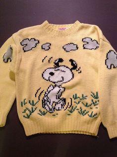 Vintage Peanuts Snoopy Woodstock Ditford Sweater L Yellow 1965 Hong Kong