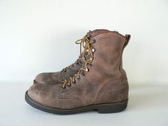 Men's Vintage Georgia Brown Leather Work Boots Size 9 by Etsplace, $89.99