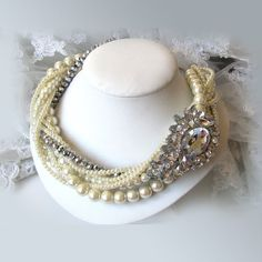steampunk victorian pearl necklace | ... Bridal necklace,Ivory pearl crystal twisted necklace fashion jewelry