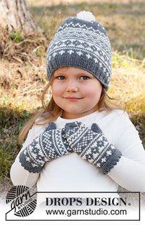 Baby Knitting Patterns, Knitting For Kids, Free Knitting, Crochet Patterns, Drops Design, Knit Crochet, Crochet Hats, Mittens Pattern, Crochet Diagram