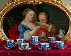 Chinese cups without handles were very popular in Europe and were imported in great quantities, usually packed in tea or rice. As shown in the painting, it was quite all right to pour the tea into the saucer for cooling. 6 K'ang-hsi cups and saucers, 1662-1722