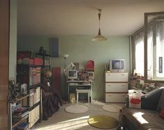 Romanian photographer Bogdan Grbovan seeks inspiration that literally hits close to home. He currently lives on the floor of a Bucharest apartment One Room Apartment, Apartment Layout, Hits Close To Home, Cool Rooms, Unique Furniture, Bedding Sets, Living Spaces, Room Decor, Flooring