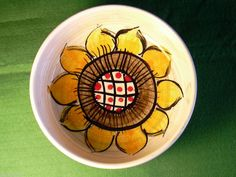 VINTAGE Sonnen Blume WEST GERMANY ART POTTERY BOWL 70's Sunflower Dish Funky | eBay