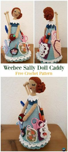 Crochet Weebee Sally Doll Caddy Free Pattern - # Crochet & In . : Crochet Weebee Sally Doll Caddy Free Pattern – # Crochet & Owners for free … Beau Crochet, Crochet Mignon, Crochet Hook Case, Crochet Home, Crochet Gifts, Cute Crochet, Beautiful Crochet, Doll Amigurumi Free Pattern, Crochet Doll Pattern
