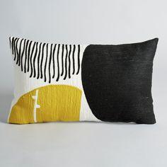 Fabric Designs Mihnéa Embroidered Cotton Cushion Cover - With polka dots.Black and yellow polka dot print.Size 50 x 30 cm. Diy Pillows, Cushions On Sofa, Decorative Pillows, Throw Pillows, Marimekko, Fabric Stamping, Embroidered Cushions, Textiles, Textile Prints