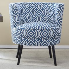 angelo:HOME Lily Barrel Chair in Blue & White & Reviews | Wayfair
