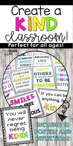 """Create your own """"Kindness Bulletin Board"""" and encourage kindness and random acts of kindness in your classroom with these posters and activities. Great for back to school and all year long! Click to see all the posters included."""