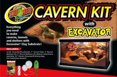 Zoo Med's Cavern Kit. Everything you need to make caverns, tunnels, and shelters with Excavator® Clay Substrate.
