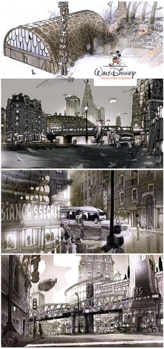 """More of my visual development work on Zootopia. Beginning of 2012. the directors ask me to try something more """"realistic"""", more """"human like""""…So I went for somestrong big european city kind of atmosphere."""