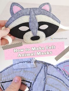 How to Make Felt Animal Masks- raccoon mask kids craft from Brown Olson Spark Sewing For Kids, Diy For Kids, Crafts For Kids, Sewing Toys, Sewing Crafts, Sewing Projects, Costume Halloween, Diy Costumes, Halloween Diy