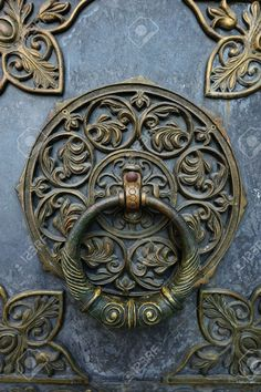 Bronze Knocker On The Church Door.