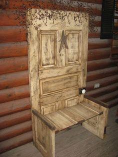 Turn The Old Door In a Chair - 21 DIY Re purpose Old Door Ideas