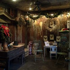 Potting shed with tin walls