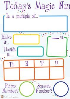 Teacher's Pet - KS2 Today's Magic Number Board - FREE Classroom Display Resource - EYFS, KS1, KS2, prime, multiples, factors, half, halves, ...