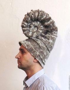 """Купить Шапка """"Наутилус"""" - арт-объект, необычная шляпа, шапка, улитка, аммонит, наутилус"""