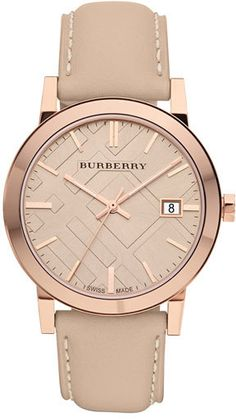 What time is it? I love the rose gold color. Burberry Check Stamped Round Dial Watch, 34mm | #shoplu lucurates.com