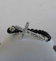 Sideways Cross Bracelet Black Onyx Cross by beadedblisscreations, $28.00