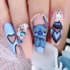Disney Acrylic Nails, Clear Acrylic Nails, Summer Acrylic Nails, Spring Nails, Pastel Nails, Summer Nails, Halloween Nail Designs, Cute Nail Designs, Halloween Nails