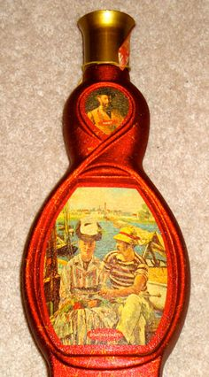$13  Jim Beam Manet Boating Party Red Decanter Whiskey Bottle    http://www.etsy.com/listing/85992512/jim-beam-manet-boating-party-red
