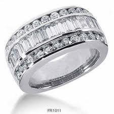 Multi row diamond band ring