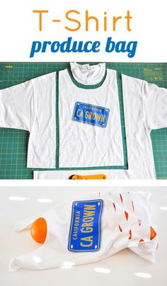 Make a t-shirt produce bag from old t-shirts. The easiest method out there! Sewing Hacks, Sewing Crafts, Sewing Projects, Sewing Tutorials, Bag Patterns To Sew, Sewing Patterns, Operation Christmas Child, Produce Bags, Old T Shirts