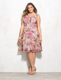 Plus Size | Dresses | A-line Dresses | Plus Size Ruched Floral Dress