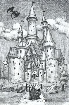 castle by on DeviantArt Landscape Pencil Drawings, Pencil Art Drawings, Art Drawings Sketches, Cool Drawings, Disney Castle Drawing, Castle Sketch, Medieval Drawings, Fantasy Drawings, Chateau Harry Potter