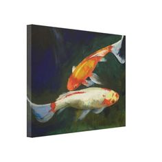 Feng Shui Koi Fish Stretched Canvas Print by Mozaix $151.20