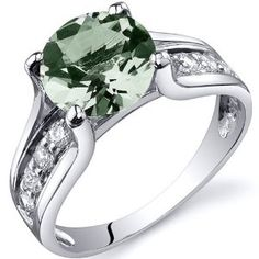 Solitaire Style 1.75 carats Green Amethyst Ring in Sterling Silver Rhodium Finish Available in Sizes 5 thru 9 Review