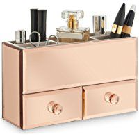 Beautify Rose Gold 2 Drawer Mirrored Glass Makeup/ Jewellery Organiser with 5 Storage Sections includes Glass Cleaning Cloth