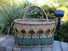 Sunflower Tote Basket Handwoven Basket by kimstexascreations