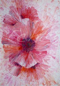 Whetū van den Oever Paintings|Art Gallery| New Zealand artist. 'Unfold' Acrylics on paper, 42x59cm. Abstract painting. Flower. Art. Follow me on www.facebook.com/echt.nz or on my website www.echt.nz