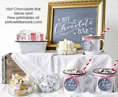 This would be the highlight of any kid-friendly winter party: Hot Chocolate Bar with Free Chalkboard Printables - Yellow Bliss Road. #hotchocolate #christmas