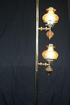 Retro Tension Pole Lamp Glass Shade Mid Century Light 7ft. Amber 2 Lights!
