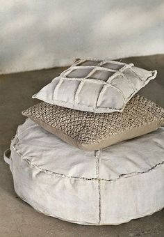 canvas pouf and pillows