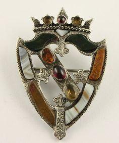 1866 Victorian silver Scottish agate shield brooch