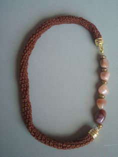 Crochetted necklace, cornaline nuggets