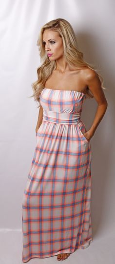 Plaid Pocket Maxi Dress
