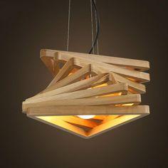 Diseño creativo espiral de luz colgante de madera clara burlywood comedor salón lámparas colgantes de madera rústica accesorio de iluminación de la sala de estar