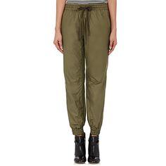 VIS Ā VIS Drawstring-Waist Jogger Pants (£225) ❤ liked on Polyvore featuring pants, green, shiny pants, green jogging pants, wet look pants, brown trousers and drawstring waist pants