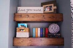 Old House to New Home : Chunky Wood Floating Shelves  Good use of odd narrow space, might work in back office