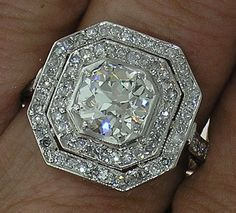 ♡ Art Deco Platinum Ring with 1.45ct Old European Cut Diamond ♡