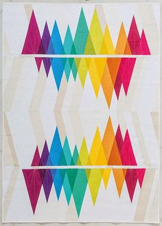 "Holy cow! This ""Wavelength"" quilt by Becca Bryan of Bryan House Quilts blows my mind! Pattern available in Becca's book here: http://www.amazon.com/Modern-Rainbow-Imaginative-Quilts-Color/dp/1617450189"