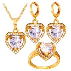812330ba0 Heart Jewelry for Women Gold Plated Cubic Zirconia Crystal Pendant Necklace  Earrings Set