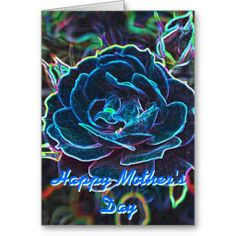 *personalize* Mother's Day Swirly Blue Neon Rose Greeting Cards