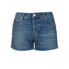 TopShop Moto Dark Denim Ashley Short (€34) ❤ liked on Polyvore featuring shorts, short shorts, cut off shorts, topshop shorts, dark denim shorts and mid rise shorts