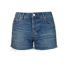 TopShop Moto Dark Denim Ashley Short (€34) ❤ liked on Polyvore featuring shorts, short shorts, cut off shorts, topshop shorts, dark denim shorts and mid rise shorts