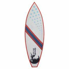 """Hand-painted with a retro-inspired motif, this teak surfboard decor adds a coastal-chic touch to your porch or living room.  Product: SurfboardConstruction Material: Teak wood  Color: White, red and blueFeatures: HandcraftedDimensions: 79"""" H x 24"""" W x 10"""" D"""